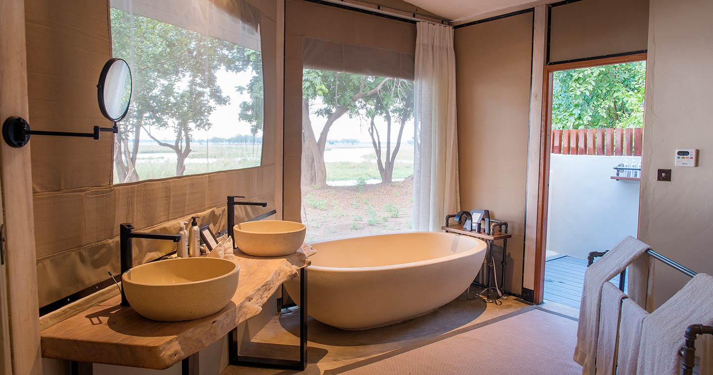 Bathroom at Sausage Tree Camp in the Lower Zambezi National Park