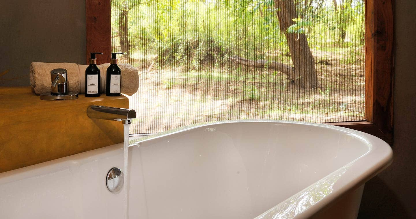 Bathroom with View at Potato Bush Camp the Lower Zambezi National Park