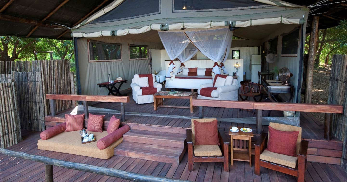 Luxury Outdoor Bedroom in Chiawa Camp in the Lower Zambezi National Park