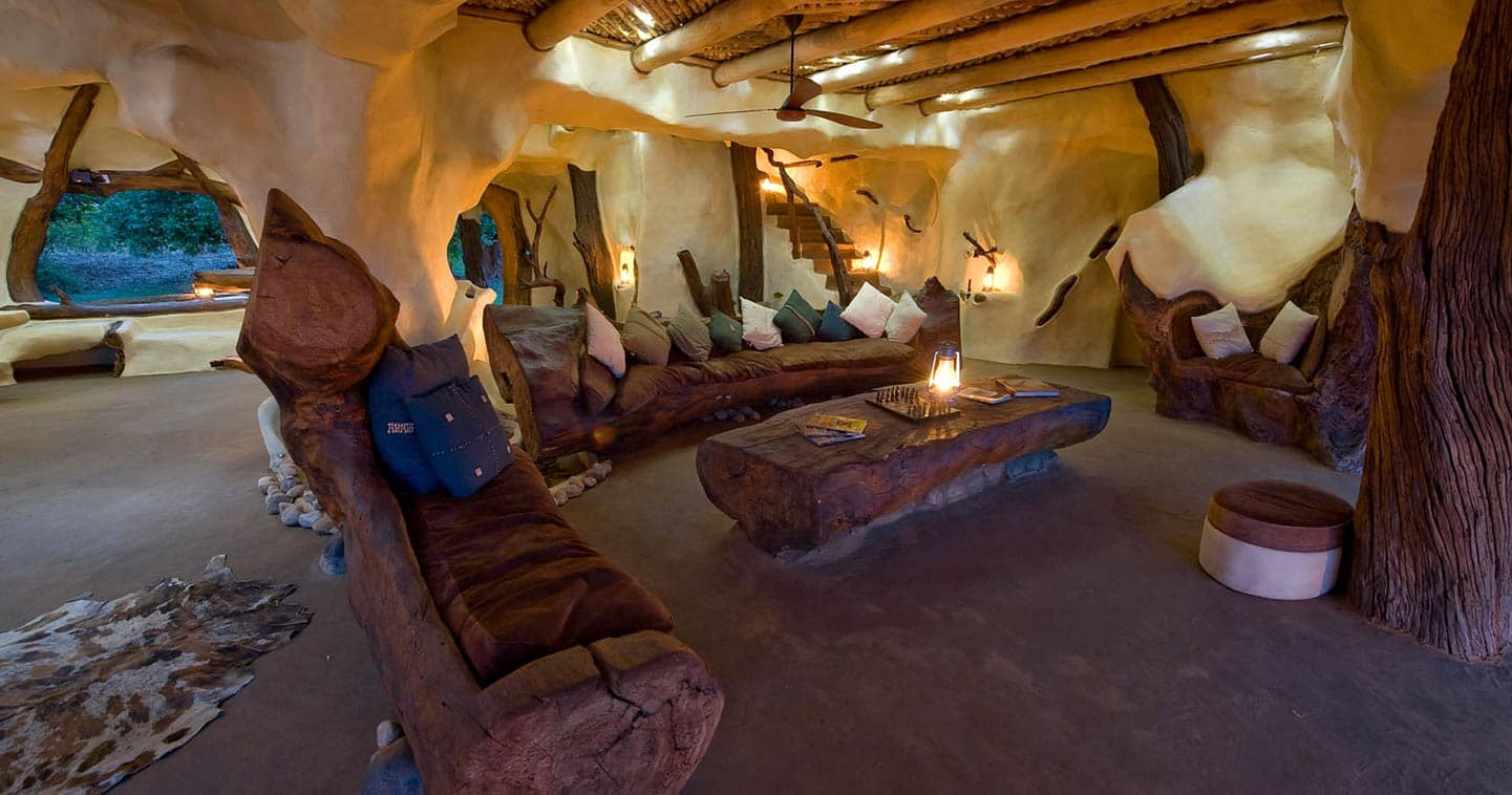 The lounge at Chongwe River House in the Lower Zambezi National Park in Zambia