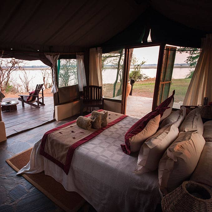 Bedroom with Bush View at Kasaka River Lodge in Lower Zambezi National Park