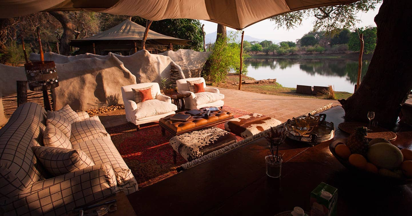 Lounge with View over the Zambezi River at Chongwe River Camp in the Lower Zambezi National Park