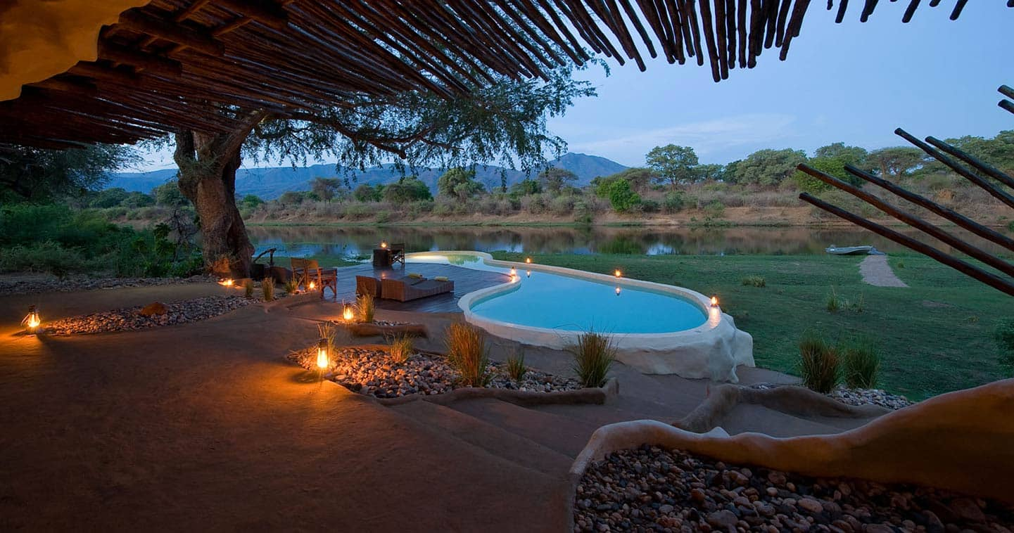 Pool at Chongwe River House in the Lower Zambezi National Park in Zambia