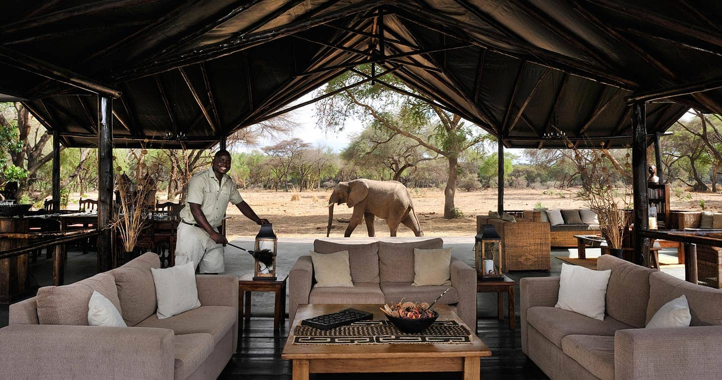 The lounge at Old Mondoro Bush Camp in the Lower Zambezi National Park in Zambia