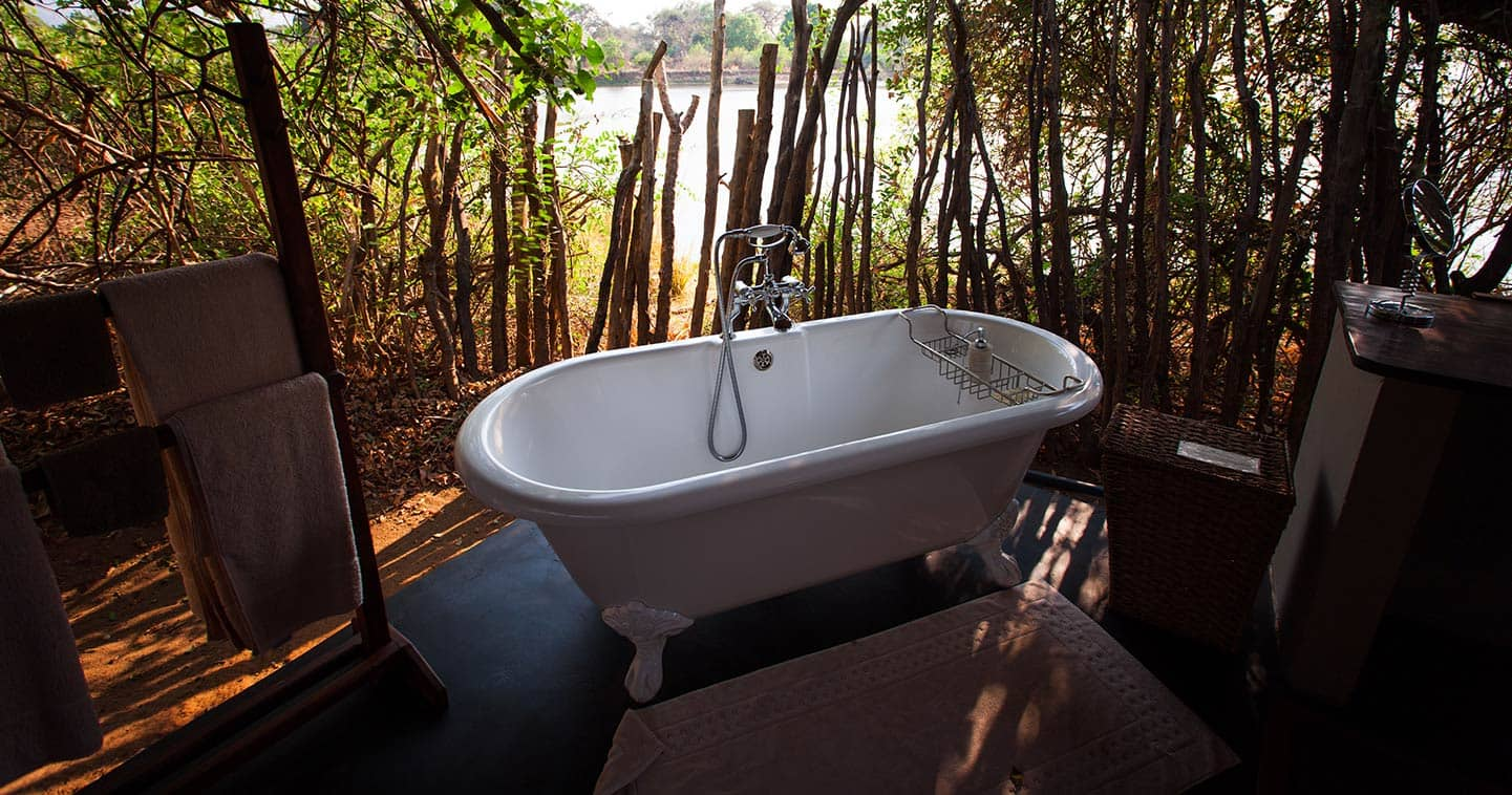 Outdoor Bathing at Chongwe River Camp in the Lower Zambezi National Park