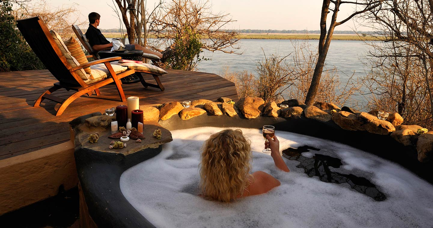 Outdoor Bathing at Kasaka River Lodge in the Lower Zambezi National Park