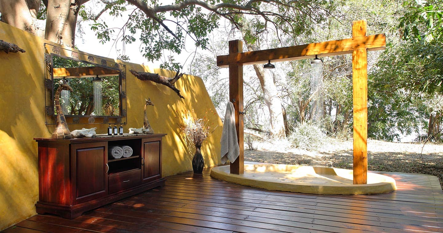 Outdoor Showering at Sausage Tree Camp in the Lower Zambezi National Park