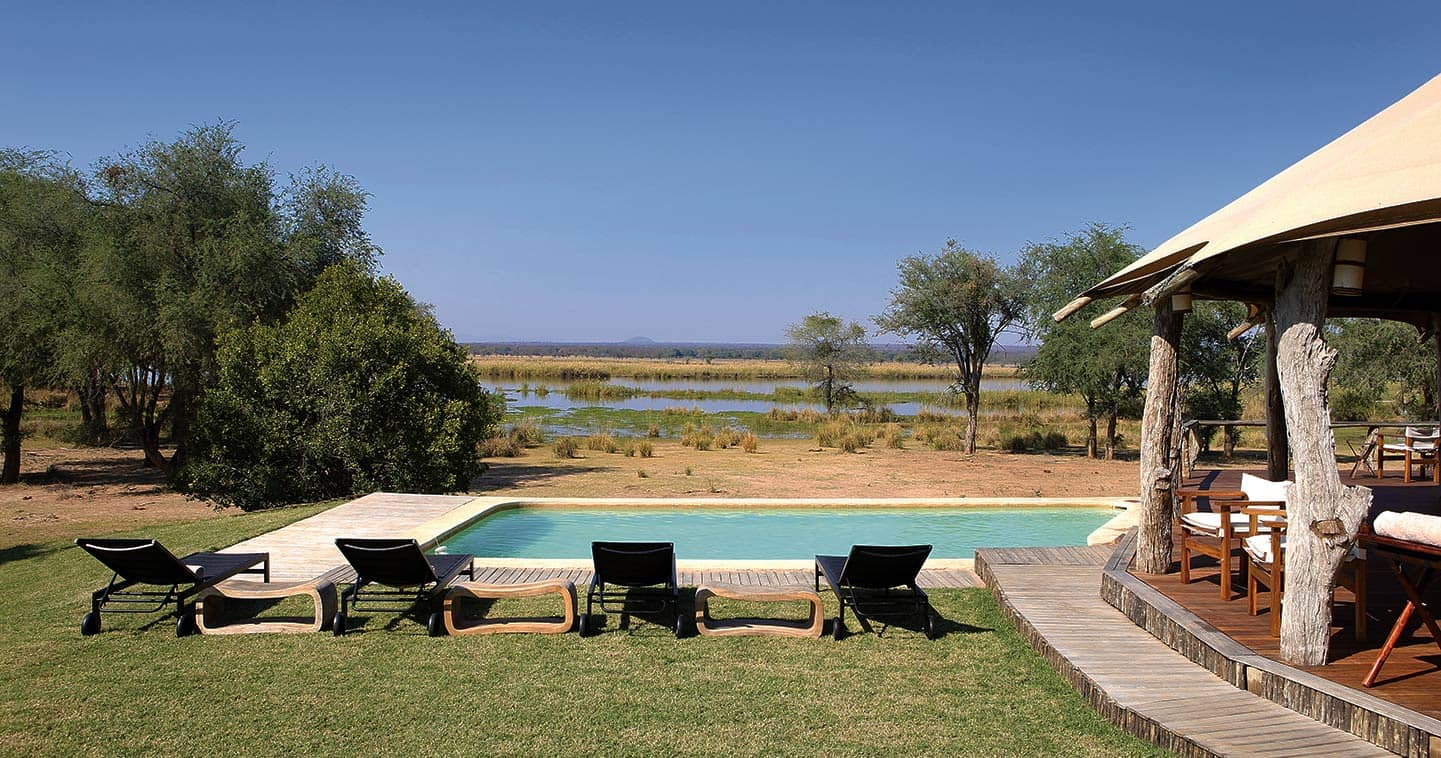 Pool Next to the Zambezi River at Anabezi Camp