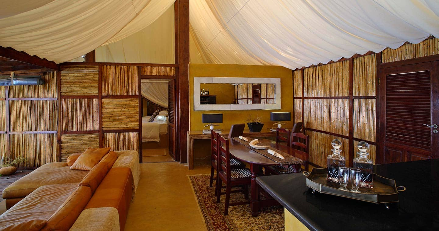 The lounge at Sausage Tree Camp in the Lower Zambezi National Park in Zambia