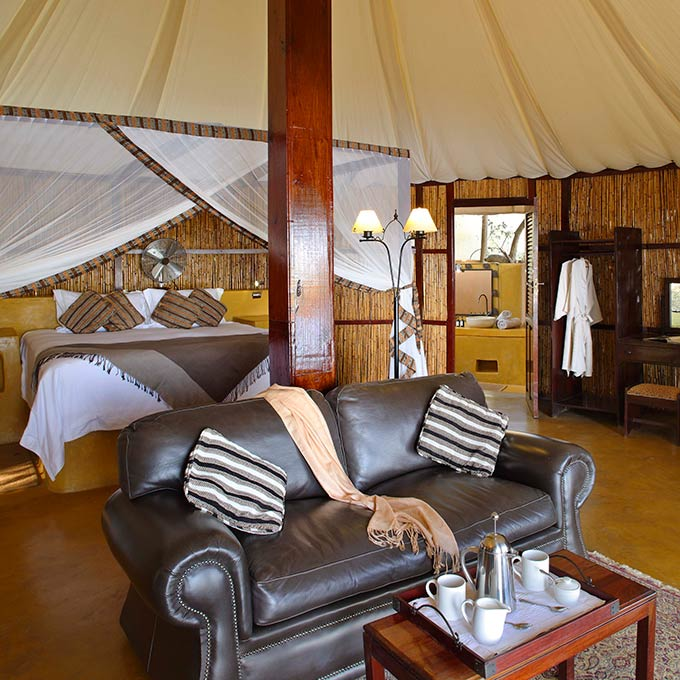 Luxury Bedroom at Sausage Tree Camp in Lower Zambezi National Park