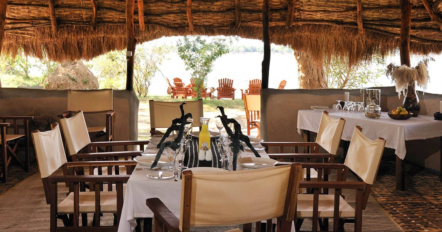 Tsika Island Bush Camp Dining in Lower Zambezi National Park