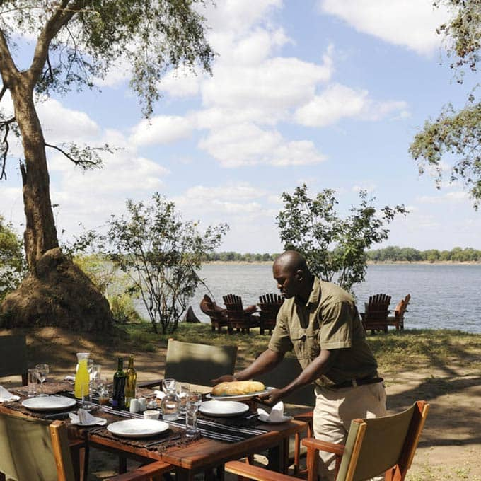 Enjoy an Outdoor Breakfast at Tsika Island Bush Camp in Lower Zambezi National Park